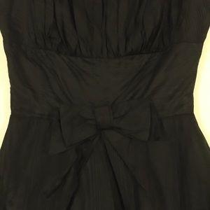 Vintage Dresses - Vintage Black Moire Taffeta dress with Bow accent